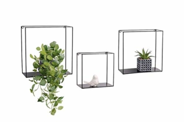 LIFA LIVING 3er Set Wandregal im Industrie Design, Schweberegal schwarz Metall, Elegante Wanddeko Quadrat als Bücherregale, Küche, Belastbarkeit 3 kg - 1