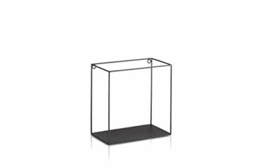 LIFA LIVING 3er Set Wandregal im Industrie Design, Schweberegal schwarz Metall, Elegante Wanddeko Quadrat als Bücherregale, Küche, Belastbarkeit 3 kg - 5