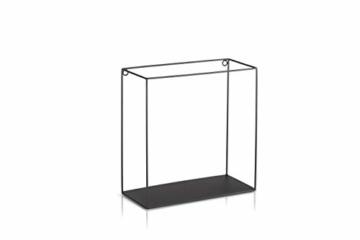 LIFA LIVING 3er Set Wandregal im Industrie Design, Schweberegal schwarz Metall, Elegante Wanddeko Quadrat als Bücherregale, Küche, Belastbarkeit 3 kg - 6