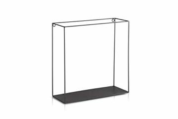 LIFA LIVING 3er Set Wandregal im Industrie Design, Schweberegal schwarz Metall, Elegante Wanddeko Quadrat als Bücherregale, Küche, Belastbarkeit 3 kg - 7