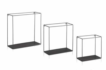 LIFA LIVING 3er Set Wandregal im Industrie Design, Schweberegal schwarz Metall, Elegante Wanddeko Quadrat als Bücherregale, Küche, Belastbarkeit 3 kg - 8