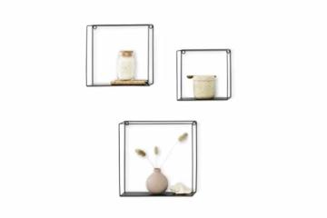LIFA LIVING 3er Set Wandregal im Industrie Design, Schweberegal schwarz Metall, Elegante Wanddeko Quadrat als Bücherregale, Küche, Belastbarkeit 3 kg - 9