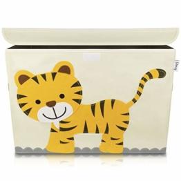 Lifeney Aufbewahrungsbox Kinder 51 x 36 x 36 cm I Kiste mit Deckel für Kinderzimmer I Aufbewahrungsbox mit Deckel für Kindersachen I Boxen Aufbewahrung mit Tiermuster I Spielzeug Aufbewahrung (Tiger) - 1