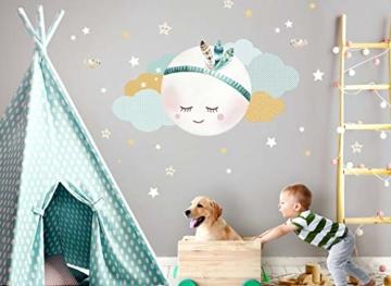 Little Deco Wandsticker Kinderzimmer Mädchen Mond Wolken Sterne I L - 59 x 31 cm (BxH) I Federn Wandtattoo Babyzimmer selbstklebend Wandaufkleber Baby Kinder DL262 - 2