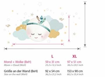 Little Deco Wandsticker Kinderzimmer Mädchen Mond Wolken Sterne I L - 59 x 31 cm (BxH) I Federn Wandtattoo Babyzimmer selbstklebend Wandaufkleber Baby Kinder DL262 - 3