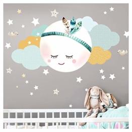Little Deco Wandsticker Kinderzimmer Mädchen Mond Wolken Sterne I L - 59 x 31 cm (BxH) I Federn Wandtattoo Babyzimmer selbstklebend Wandaufkleber Baby Kinder DL262 - 1