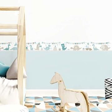 lovely label Bordüre selbstklebend DINOPARTY Petrol/Taupe/HELLBLAU - Wandbordüre Kinderzimmer/Babyzimmer mit Dinosauriern - Wandtattoo Schlafzimmer Mädchen & Junge – Wanddeko Baby/Kinder - 2