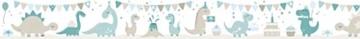 lovely label Bordüre selbstklebend DINOPARTY Petrol/Taupe/HELLBLAU - Wandbordüre Kinderzimmer/Babyzimmer mit Dinosauriern - Wandtattoo Schlafzimmer Mädchen & Junge – Wanddeko Baby/Kinder - 3