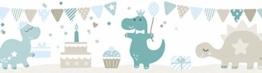 lovely label Bordüre selbstklebend DINOPARTY Petrol/Taupe/HELLBLAU - Wandbordüre Kinderzimmer/Babyzimmer mit Dinosauriern - Wandtattoo Schlafzimmer Mädchen & Junge – Wanddeko Baby/Kinder - 1