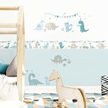 lovely label Bordüre selbstklebend DINOPARTY Petrol/Taupe/HELLBLAU - Wandbordüre Kinderzimmer/Babyzimmer mit Dinosauriern - Wandtattoo Schlafzimmer Mädchen & Junge – Wanddeko Baby/Kinder - 4