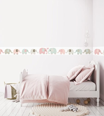 lovely label Bordüre selbstklebend Elefanten Taupe/Mint/Nude - Wandbordüre Kinderzimmer/Babyzimmer mit Elefanten - Wandtattoo Schlafzimmer Mädchen & Junge – Wanddeko Baby/Kinder - 2