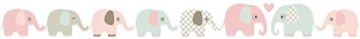 lovely label Bordüre selbstklebend Elefanten Taupe/Mint/Nude - Wandbordüre Kinderzimmer/Babyzimmer mit Elefanten - Wandtattoo Schlafzimmer Mädchen & Junge – Wanddeko Baby/Kinder - 3