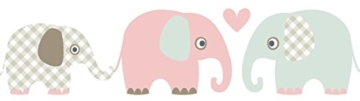 lovely label Bordüre selbstklebend Elefanten Taupe/Mint/Nude - Wandbordüre Kinderzimmer/Babyzimmer mit Elefanten - Wandtattoo Schlafzimmer Mädchen & Junge – Wanddeko Baby/Kinder - 1