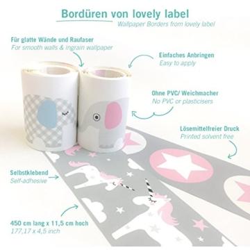 lovely label Bordüre selbstklebend Elefanten Taupe/Mint/Nude - Wandbordüre Kinderzimmer/Babyzimmer mit Elefanten - Wandtattoo Schlafzimmer Mädchen & Junge – Wanddeko Baby/Kinder - 5