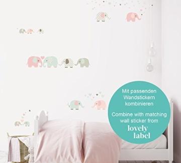 lovely label Bordüre selbstklebend Elefanten Taupe/Mint/Nude - Wandbordüre Kinderzimmer/Babyzimmer mit Elefanten - Wandtattoo Schlafzimmer Mädchen & Junge – Wanddeko Baby/Kinder - 7