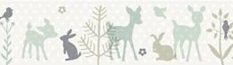 lovely label Bordüre selbstklebend HÄSCHEN & REHE Mint/GRAU/BEIGE - Wandbordüre Kinderzimmer/Babyzimmer mit Hase & REH - Wandtattoo Schlafzimmer Mädchen & Junge – Wanddeko Baby/Kinder - 1