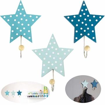 LS-LebenStil Kinder Kleiderhaken Set 3 Sterne Blau 11x11x15cm Wandhaken Garderobe - 2
