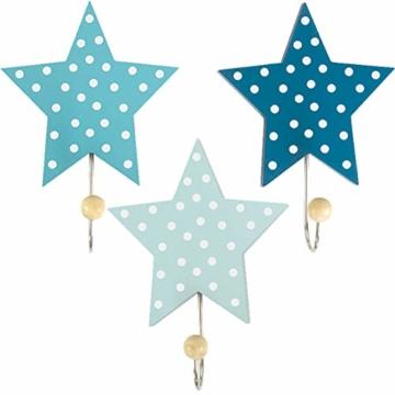 LS-LebenStil Kinder Kleiderhaken Set 3 Sterne Blau 11x11x15cm Wandhaken Garderobe - 1
