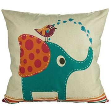 Luxbon 3 Stück Cartoon Elefant Katze Giraffe Muster Kissenbezug Lendenkissen Wurfkissenbezug Hause Auto Cafe Kindertag Deko 18 x 18 '' - 2