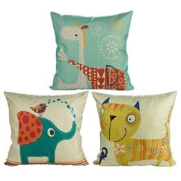 Luxbon 3 Stück Cartoon Elefant Katze Giraffe Muster Kissenbezug Lendenkissen Wurfkissenbezug Hause Auto Cafe Kindertag Deko 18 x 18 '' - 1