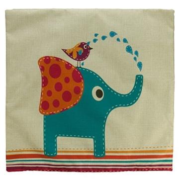 Luxbon 3 Stück Cartoon Elefant Katze Giraffe Muster Kissenbezug Lendenkissen Wurfkissenbezug Hause Auto Cafe Kindertag Deko 18 x 18 '' - 5