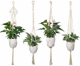 Luxbon 4er Set Makramee Blumenampel Baumwollseil Hängeampel Blumentopf Pflanzen Halter Aufhänger für Innen Außen Decken Balkone Wanddekoration - 41 Zoll, 4 Beine - 1