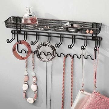 mDesign Schmuckhalter Wand – Hängeaufbewahrung für Halsketten, Ohrringe, Armbänder und andere Accessoires – praktischer Schmuck Organizer aus Metall – schwarz - 2