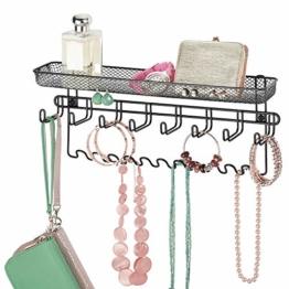 mDesign Schmuckhalter Wand – Hängeaufbewahrung für Halsketten, Ohrringe, Armbänder und andere Accessoires – praktischer Schmuck Organizer aus Metall – schwarz - 1