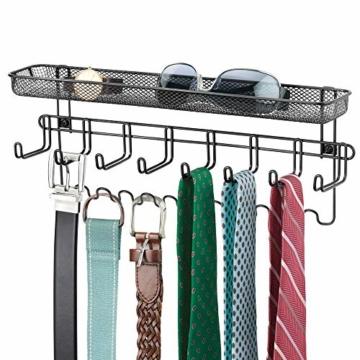 mDesign Schmuckhalter Wand – Hängeaufbewahrung für Halsketten, Ohrringe, Armbänder und andere Accessoires – praktischer Schmuck Organizer aus Metall – schwarz - 5