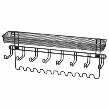 mDesign Schmuckhalter Wand – Hängeaufbewahrung für Halsketten, Ohrringe, Armbänder und andere Accessoires – praktischer Schmuck Organizer aus Metall – schwarz - 8