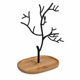 Navaris Schmuckbaum aus Holz und Metall - Schmuckständer für Ketten Ohrringe Ringe - Deko Schmuck Aufbewahrung - Ständer in Schwarz Hellbraun - 1