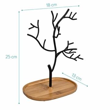 Navaris Schmuckbaum aus Holz und Metall - Schmuckständer für Ketten Ohrringe Ringe - Deko Schmuck Aufbewahrung - Ständer in Schwarz Hellbraun - 4
