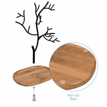 Navaris Schmuckbaum aus Holz und Metall - Schmuckständer für Ketten Ohrringe Ringe - Deko Schmuck Aufbewahrung - Ständer in Schwarz Hellbraun - 6