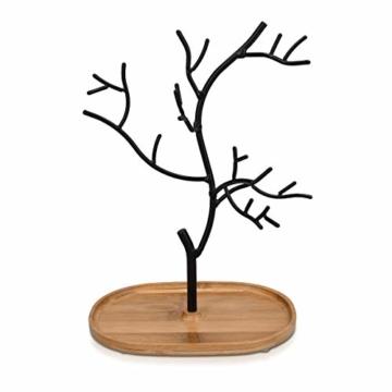 Navaris Schmuckbaum aus Holz und Metall - Schmuckständer für Ketten Ohrringe Ringe - Deko Schmuck Aufbewahrung - Ständer in Schwarz Hellbraun - 8