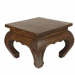 Oriental Galerie Opiumtisch Opium Tisch Beistelltisch Massiv Holz Couchtisch Nachttisch Hocker, Größe:25x25x20cm (LxBxH), Farbe:Dunkelbraun - 1