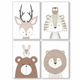 Pandawal Kinderzimmer Bilder Deko grau für Junge und Mädchen Tiere/Waldtiere 4er Poster Set (S7) Kinderposter im DIN a4 Format - 1
