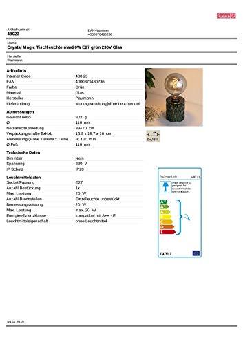 Pauleen Crystal Magic Tischleuchte max. 20W Tischlampe für E27 Lampen Nachttischlampe Grün 230V Glas ohne Leuchtmittel 48023 - 11