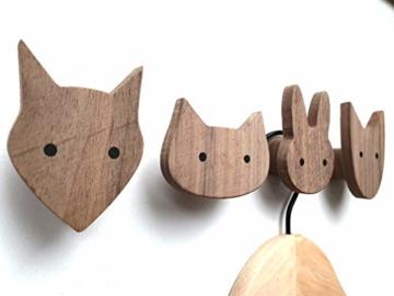 PLT Wandhaken für Kinder aus Holz, Tiere, Kinderzimmer, Fuchs, Hase, Hund, Katze, Deko, Kleiderhaken, Garderobenhaken, Garderobe, Scandi-Style, Geschenkidee - 4