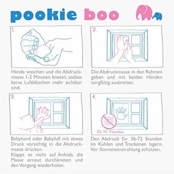 Premium Baby Hand und Fußabdruck Set von Pookie Boo zum selber machen - mit Echtholz Bilderrahmen, Acrylglas & Platzhalter für 2 Babyfotos - Perfekte Geschenkidee für Kleinkinder, Mütter und Väter - 4