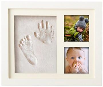 Premium Baby Hand und Fußabdruck Set von Pookie Boo zum selber machen - mit Echtholz Bilderrahmen, Acrylglas & Platzhalter für 2 Babyfotos - Perfekte Geschenkidee für Kleinkinder, Mütter und Väter - 1