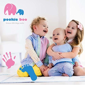 Premium Baby Hand und Fußabdruck Set von Pookie Boo zum selber machen - mit Echtholz Bilderrahmen, Acrylglas & Platzhalter für 2 Babyfotos - Perfekte Geschenkidee für Kleinkinder, Mütter und Väter - 5
