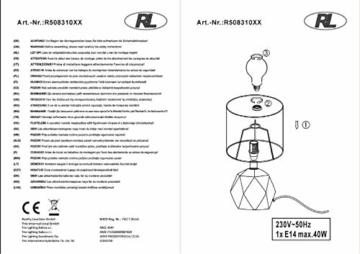 Reality Leuchten Tischleuchte, Keramik^Stoff, E14, Schirm grau, 16 x 16 x 28 cm - 5