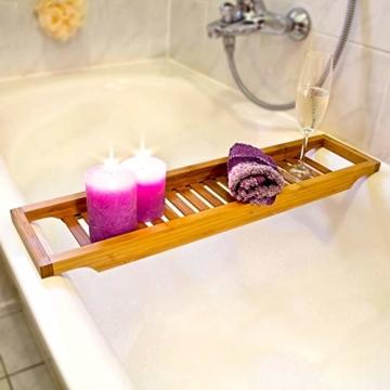 Relaxdays Badewannenablage aus Bambus mit Gitter HBT: 4 x 64 x 15 cm Wannenbrücke zur Ablage von Seife oder Schwamm Badewannenauflage aus hochwertigem Holz Wannenaufsatz als Badewannentablett, natur - 2