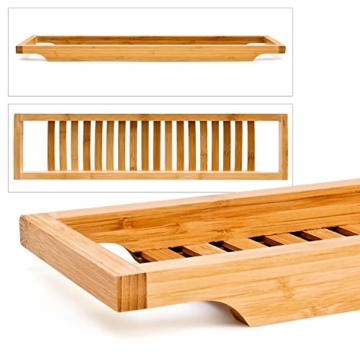 Relaxdays Badewannenablage aus Bambus mit Gitter HBT: 4 x 64 x 15 cm Wannenbrücke zur Ablage von Seife oder Schwamm Badewannenauflage aus hochwertigem Holz Wannenaufsatz als Badewannentablett, natur - 3
