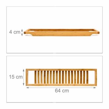 Relaxdays Badewannenablage aus Bambus mit Gitter HBT: 4 x 64 x 15 cm Wannenbrücke zur Ablage von Seife oder Schwamm Badewannenauflage aus hochwertigem Holz Wannenaufsatz als Badewannentablett, natur - 4