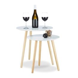 Relaxdays Beistelltisch 2er Set skandinavisch, 70er Design, Nachttische, Satztische, Durchmesser 39 und 47,5 cm, weiß - 1