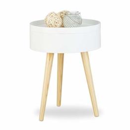 Relaxdays Beistelltisch rund skandinavisches Design, 70er, Nachttisch mit Tablett, Staufach, HxBxT: 50x38x38 cm, weiß - 1