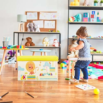 Relaxdays Sitzbox Kinder, Faltbare Aufbewahrungsbox mit Stauraum, Deckel, Motiv Tiere, Jungen & Mädchen, 50 Liter, gelb, 36 x 60,5 x 30,5 cm - 2