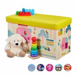 Relaxdays Sitzbox Kinder, Faltbare Aufbewahrungsbox mit Stauraum, Deckel, Motiv Tiere, Jungen & Mädchen, 50 Liter, gelb, 36 x 60,5 x 30,5 cm - 1