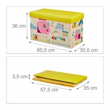 Relaxdays Sitzbox Kinder, Faltbare Aufbewahrungsbox mit Stauraum, Deckel, Motiv Tiere, Jungen & Mädchen, 50 Liter, gelb, 36 x 60,5 x 30,5 cm - 4